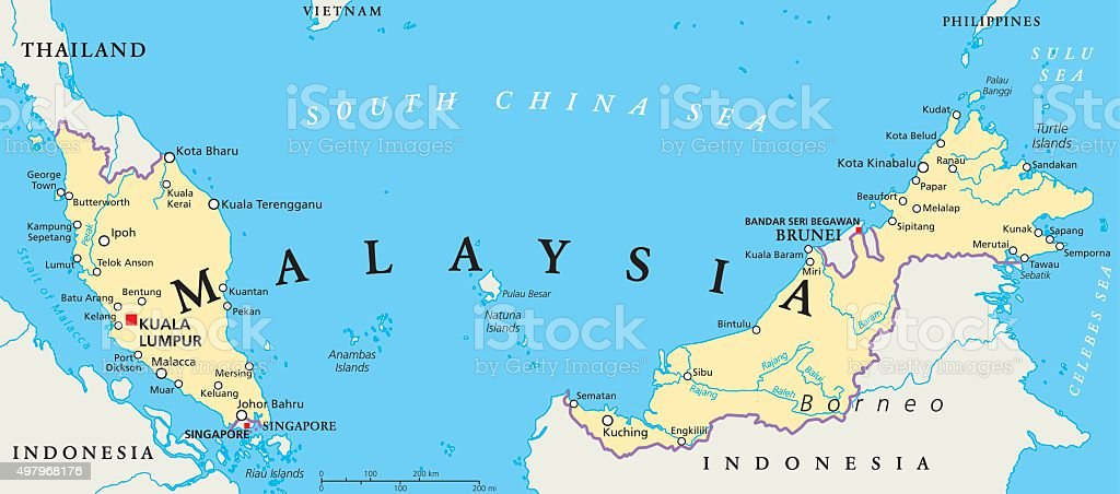 Malaysia Political Map vector art illustration