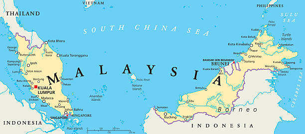 malaysia politische karte - kuching stock-grafiken, -clipart, -cartoons und -symbole