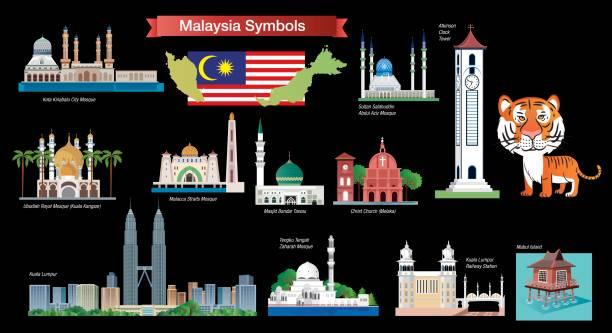 stockillustraties, clipart, cartoons en iconen met maleisië symbolen - malakka staat