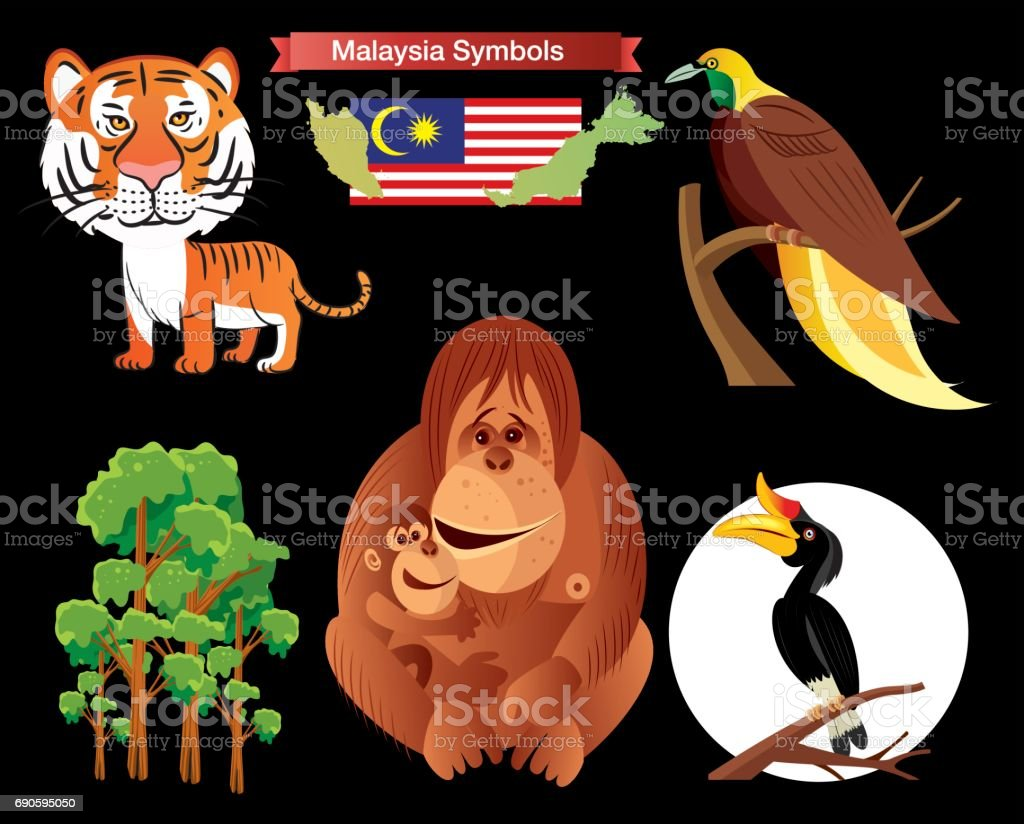 Malaysia Symbols vector art illustration