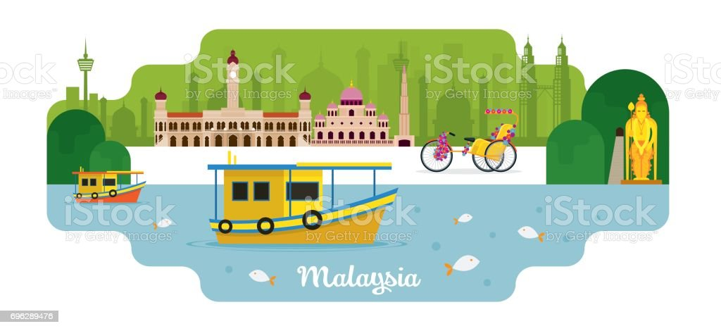 Malaysia Travel and Attraction vector art illustration