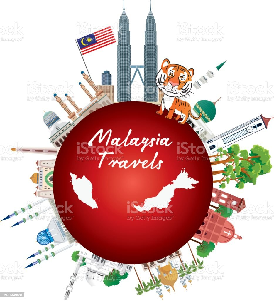 Malaysia Travel vector art illustration