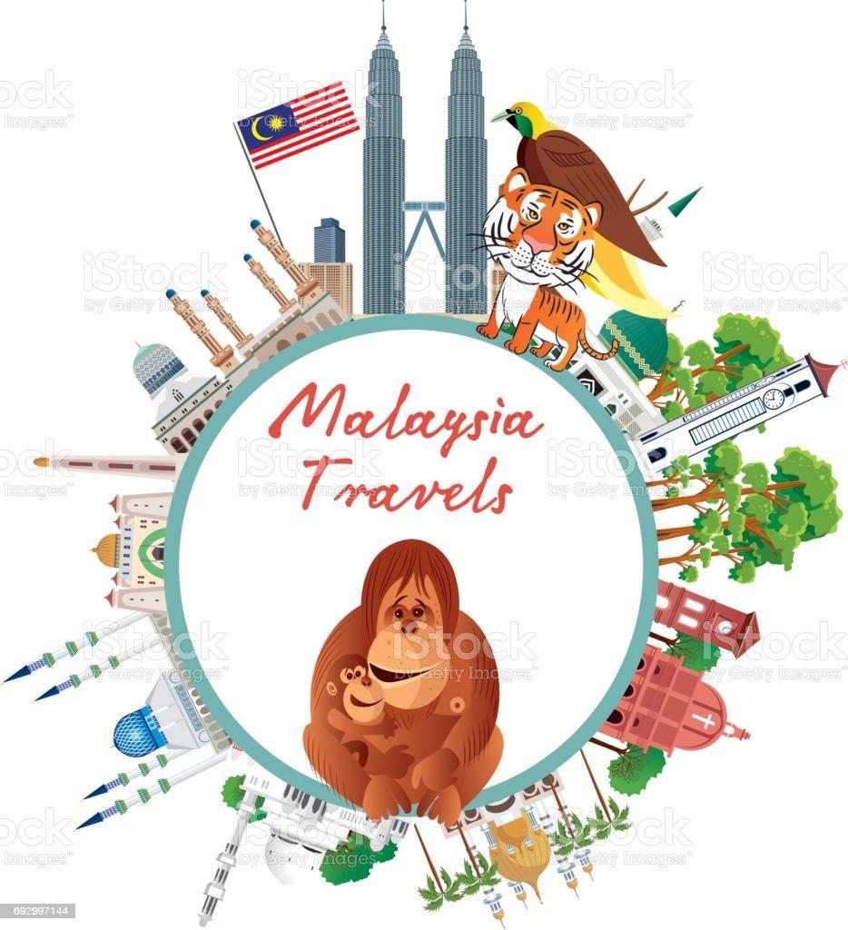 Malaysia Travels vector art illustration