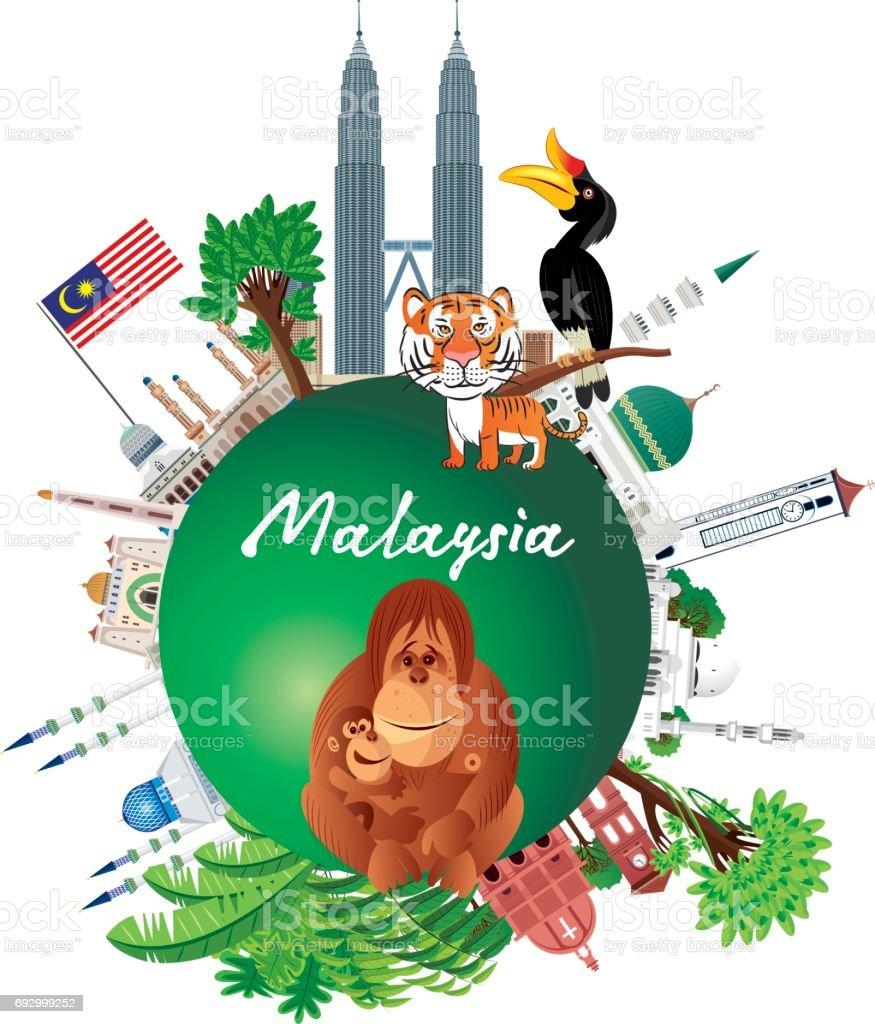 Malaysia vector art illustration