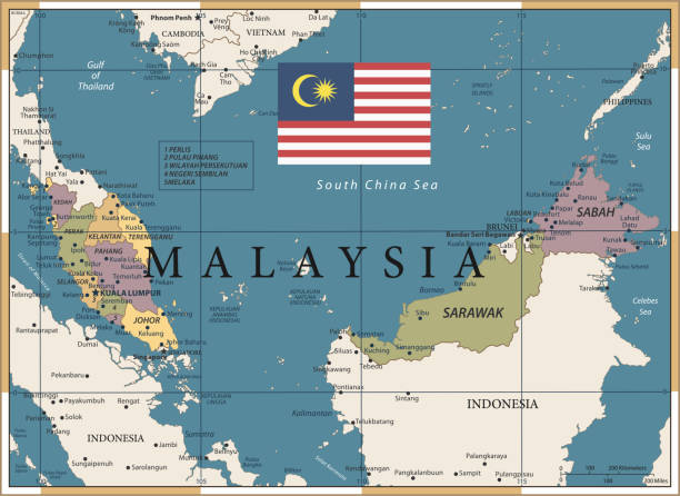 20 - malaysia - vintage farbe dunkel - kuching stock-grafiken, -clipart, -cartoons und -symbole