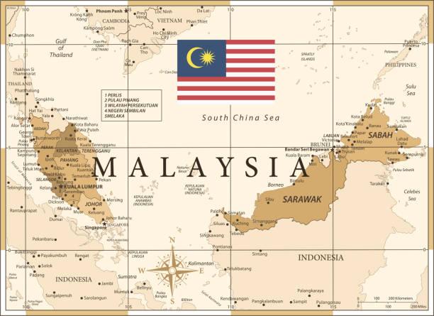 25 - malaysia - vintage golden 10 - kuching stock-grafiken, -clipart, -cartoons und -symbole