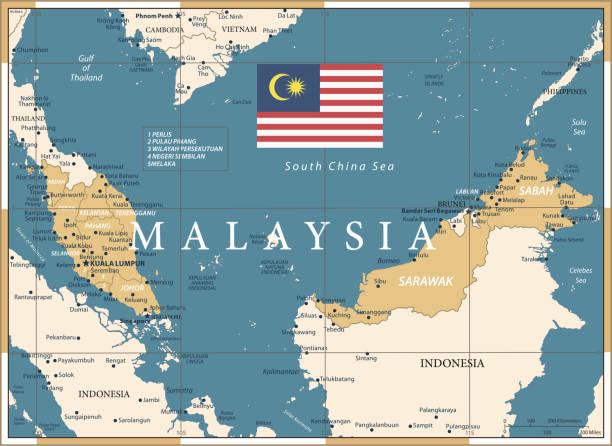 22 - malaysia - vintage golden dark 10 - kuching stock-grafiken, -clipart, -cartoons und -symbole