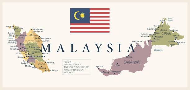 21 - malaysia - vintage isoliert 10 - kuching stock-grafiken, -clipart, -cartoons und -symbole