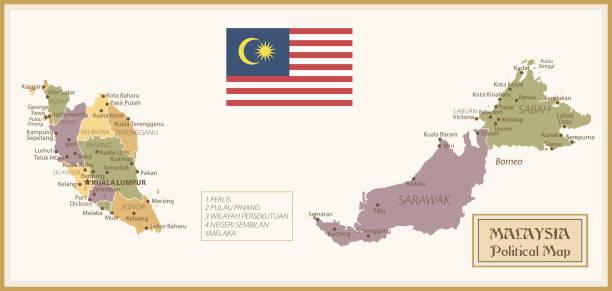 36 - malaysia - vintage isoliert q10 - kuching stock-grafiken, -clipart, -cartoons und -symbole