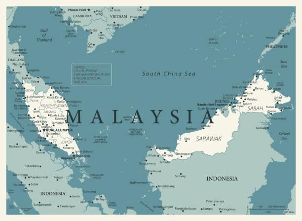 23 - malaysia - vintage murena 10 - kuching stock-grafiken, -clipart, -cartoons und -symbole