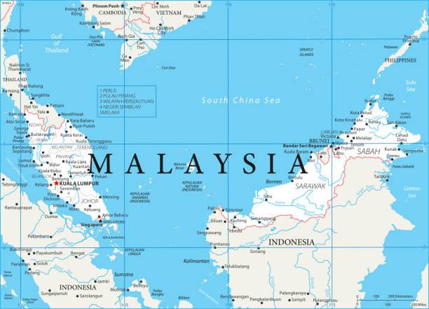 02 - malaysia - weiß 10 - kuching stock-grafiken, -clipart, -cartoons und -symbole