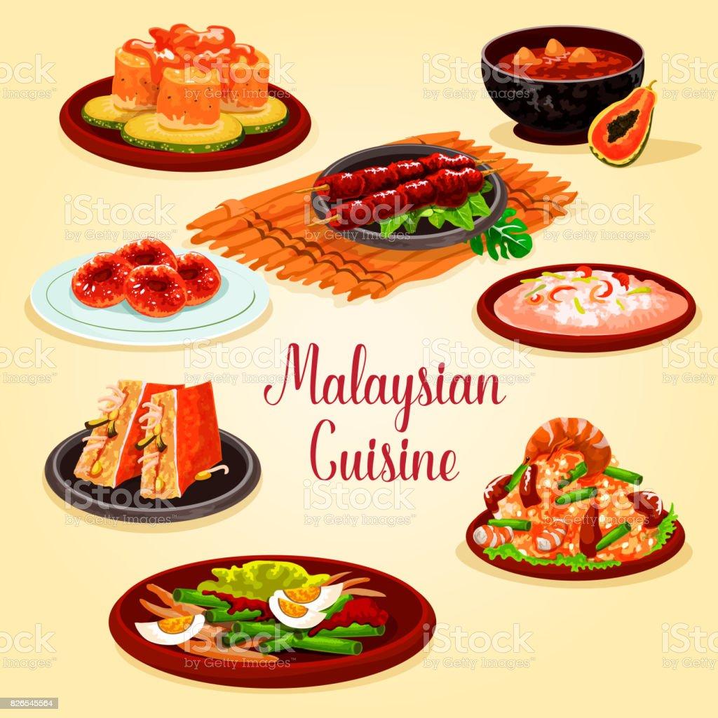 Cartaz De Desenhos Animados Cozinha Malaia Para O Design Do Menu Ilustração  De Cartaz De Desenhos