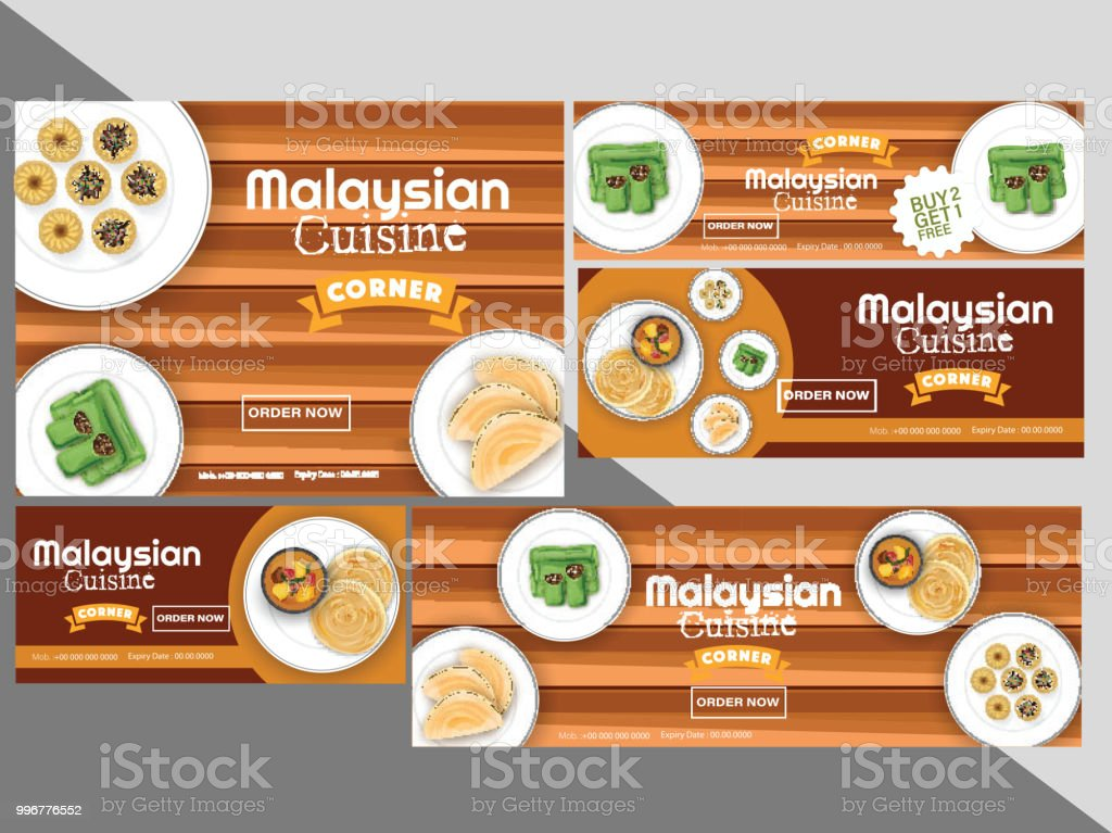 Malaysian Cuisine Coupon Or Voucher Set With Best Deal Buy 2 Get 1 Free For Restaurants Or Food Corners Stock Illustration Download Image Now Istock