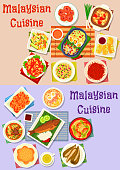 Malaysian cuisine dinner icon set of fish curry, vegetable and fruit salad, meat soup with noodle and veggies, chilli shrimp and egg, stuffed tofu and pepper, grilled fish with rice, donut and cake