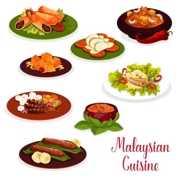 stockillustraties, clipart, cartoons en iconen met maleisische keuken diner pictogram met aziatische dessert - indonesische cultuur