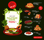 Malaysian cuisine menu template for asian restaurant. Grilled meat, seafood rice risotto, vegetable fish salad, stuffed tofu, passion fruit dessert and donut dishes list, adorned by exotic fruit