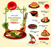 Malaysian cuisine restaurant menu template. Asian food special offer with grilled beef, seafood risotto, baked fish with vegetables, tropical fruit dessert, stuffed tofu and donut with sugar syrup