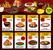 Malaysian cuisine restaurant menu template. Asian food special offer flyer with text layouts and seafood risotto, fried rice, grilled meat, fish salad, papaya soup, stuffed tofu and donut dishes
