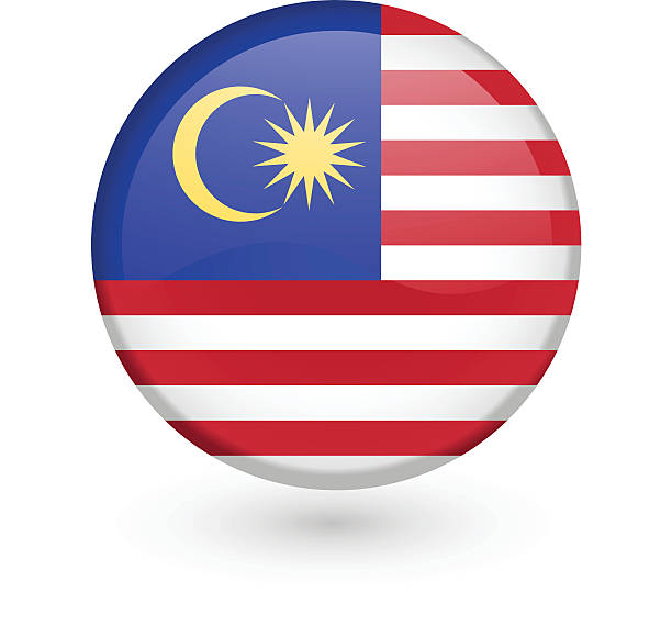 Malaysian flag vector button vector art illustration