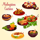 Malaysian cuisine icon with indonesian food. Grilled fish, beef rendang and chicken curry, served with rice, seafood noodle soup, spring roll, papaya shrimp soup and egg with spicy curry sauce