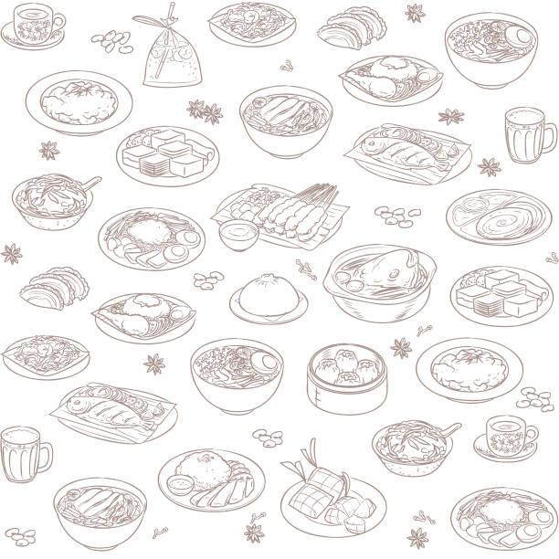Malaysian food wallpaper vector art illustration