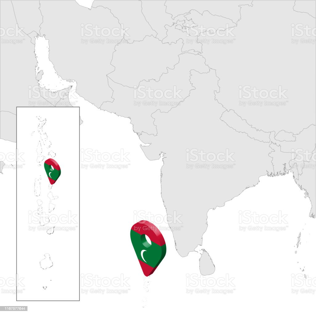 Maldive Location Map On Map South Asia 3d Maldives Flag Map Marker Location Pin High Quality Map Of Republic Of Maldives Republic South Asia Vector
