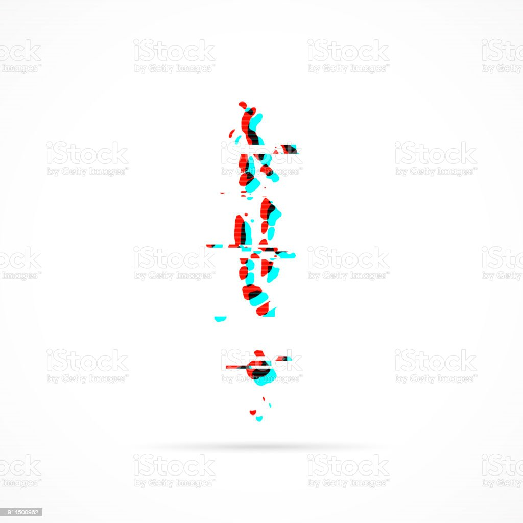 Maldives Map In Distorted Glitch Style Modern Trendy Effect Stock ...