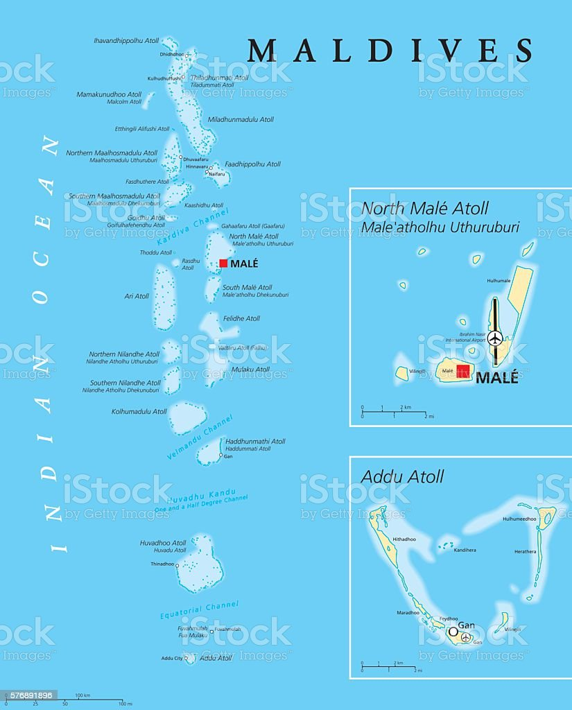 Maldives Political Map – Vektorgrafik