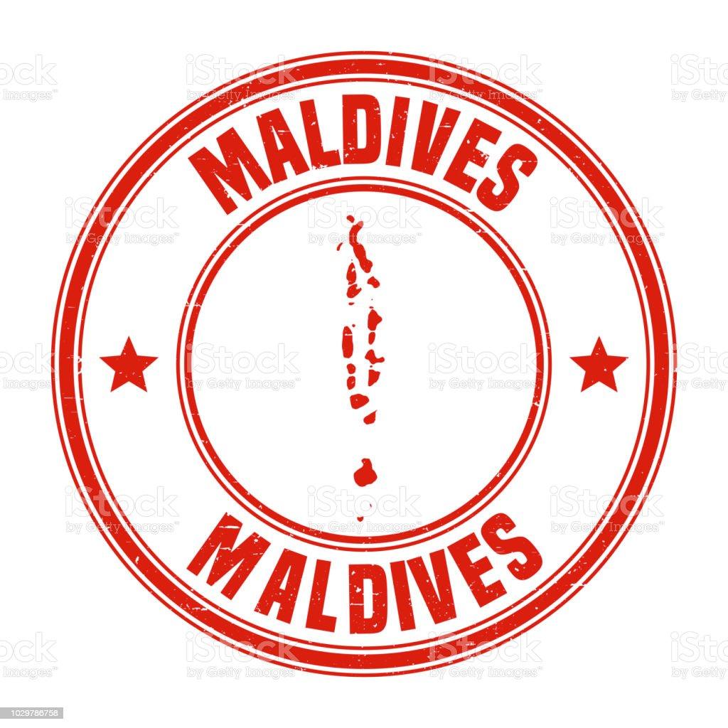 Carte Asie Maldives.Maldives Timbre En Caoutchouc Rouge Grunge Avec Nom Et Carte
