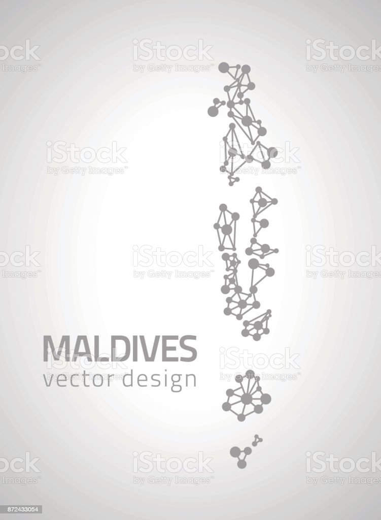Maldives Vector Dot Grey Outline Triangle Perspective Modern Map Royalty Free