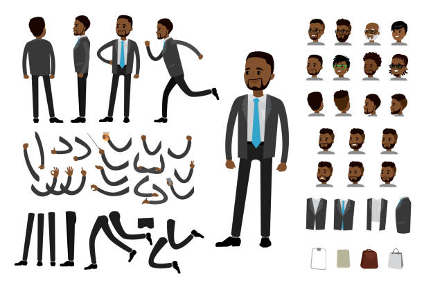 Male african american  businessman constructor Male african american  businessman constructor,human template avatars or characters,isolated on white background,flat vector illustration african american ethnicity stock illustrations
