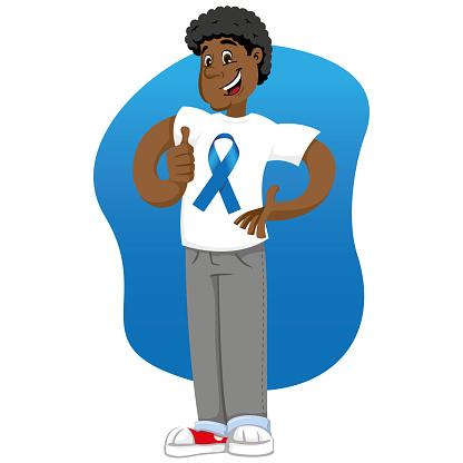 Vetores de Mascote De Afrodescendentes Masculino Ben Apoiando Movember Azul Contra O Câncer De Próstata Vestindo Uma Camisa Branca Com Faixa Azul Ideal Para Materiais Educativos E Informativos e mais imagens de Adulto