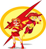 Illustration of a male and a female superhero on a white background