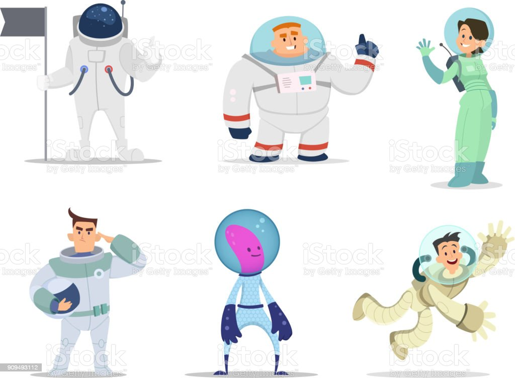 Male and female astronauts. Cartoon characters in action poses - illustrazione arte vettoriale