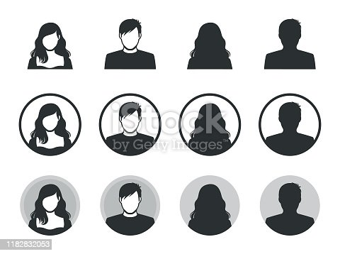 Vector illustration of the male and female silhouette icons set