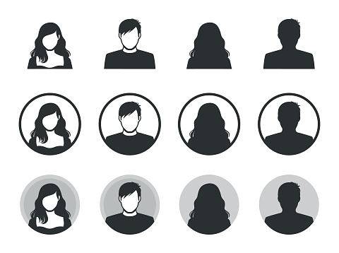 Male and female avatar silhouette icons.