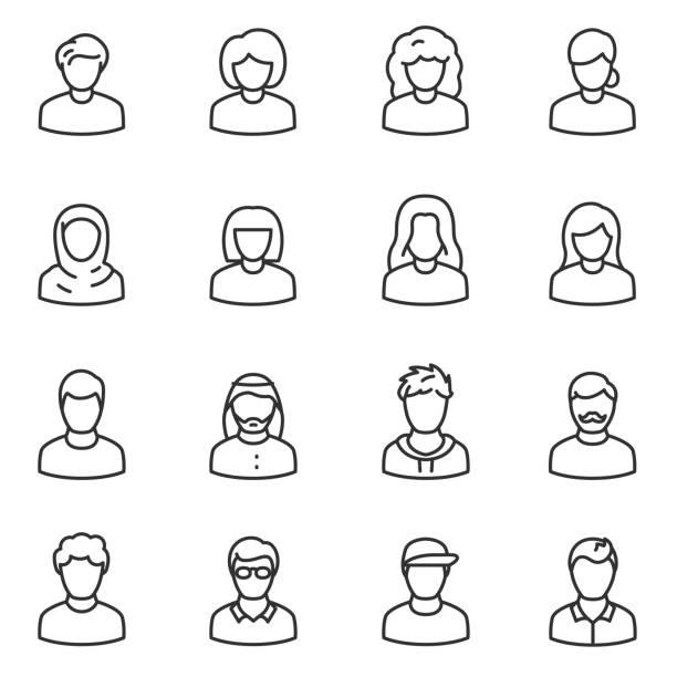ilustraciones, imágenes clip art, dibujos animados e iconos de stock de conjunto de iconos de avatares masculinos y femeninos. pueblos. línea con el movimiento editable - peinado