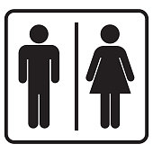 Male and Female Bathroom Round Sign Icon
