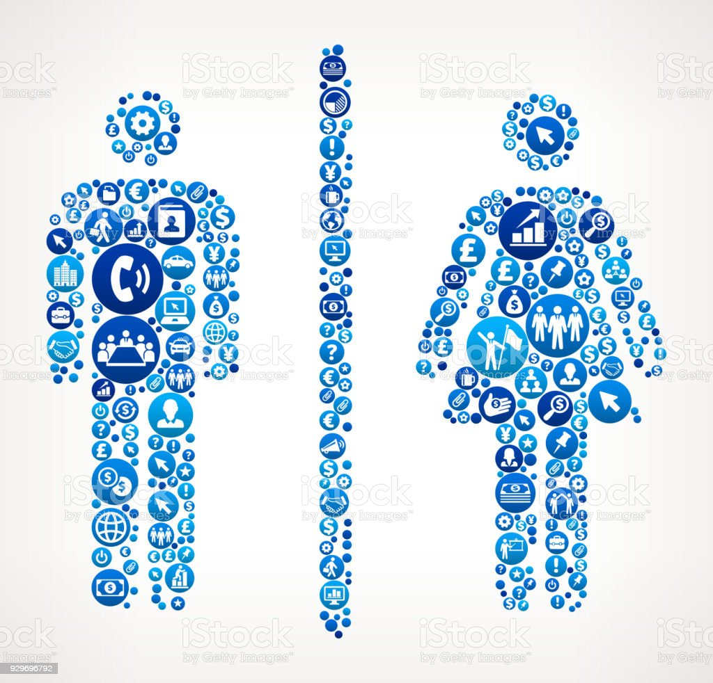 Male And Female Bathroom Sign Business Finance Blue Icon Pattern Royalty Free