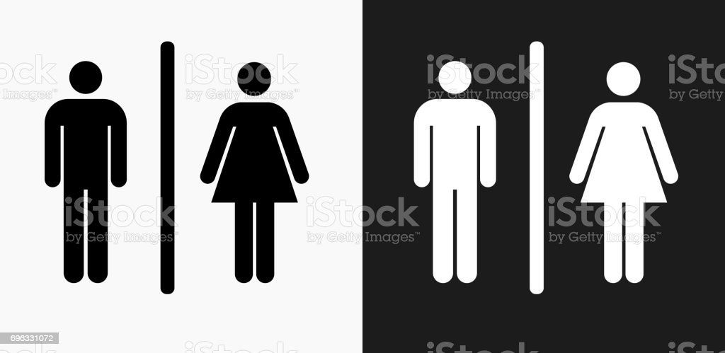 Male and Female Bathroom Sign Icon on Black and White Vector Backgrounds royalty-free male and female bathroom sign icon on black and white vector backgrounds stock vector art & more images of bathroom