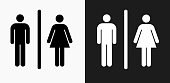 Male and Female Bathroom Sign Icon on Black and White Vector Backgrounds. This vector illustration includes two variations of the icon one in black on a light background on the left and another version in white on a dark background positioned on the right. The vector icon is simple yet elegant and can be used in a variety of ways including website or mobile application icon. This royalty free image is 100% vector based and all design elements can be scaled to any size.