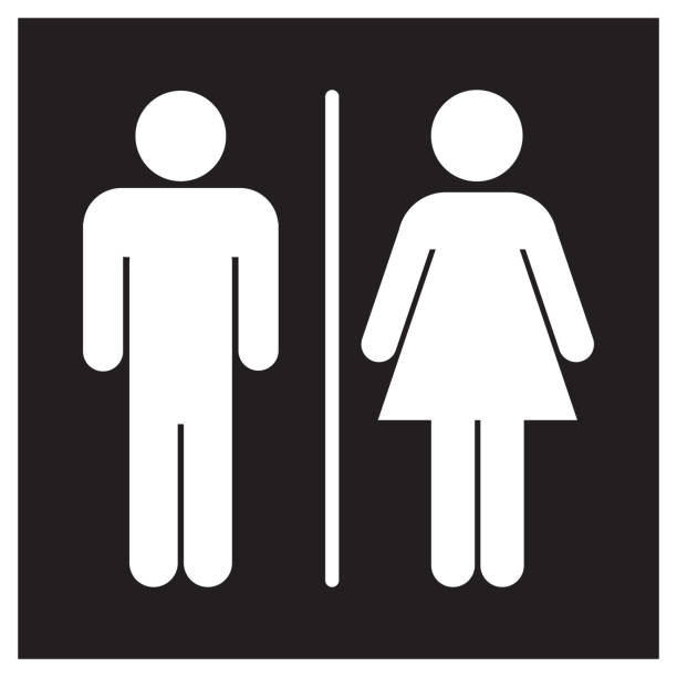Male and Female Bathroom Sign Icon Male and Female Bathroom Sign Icon human representation stock illustrations