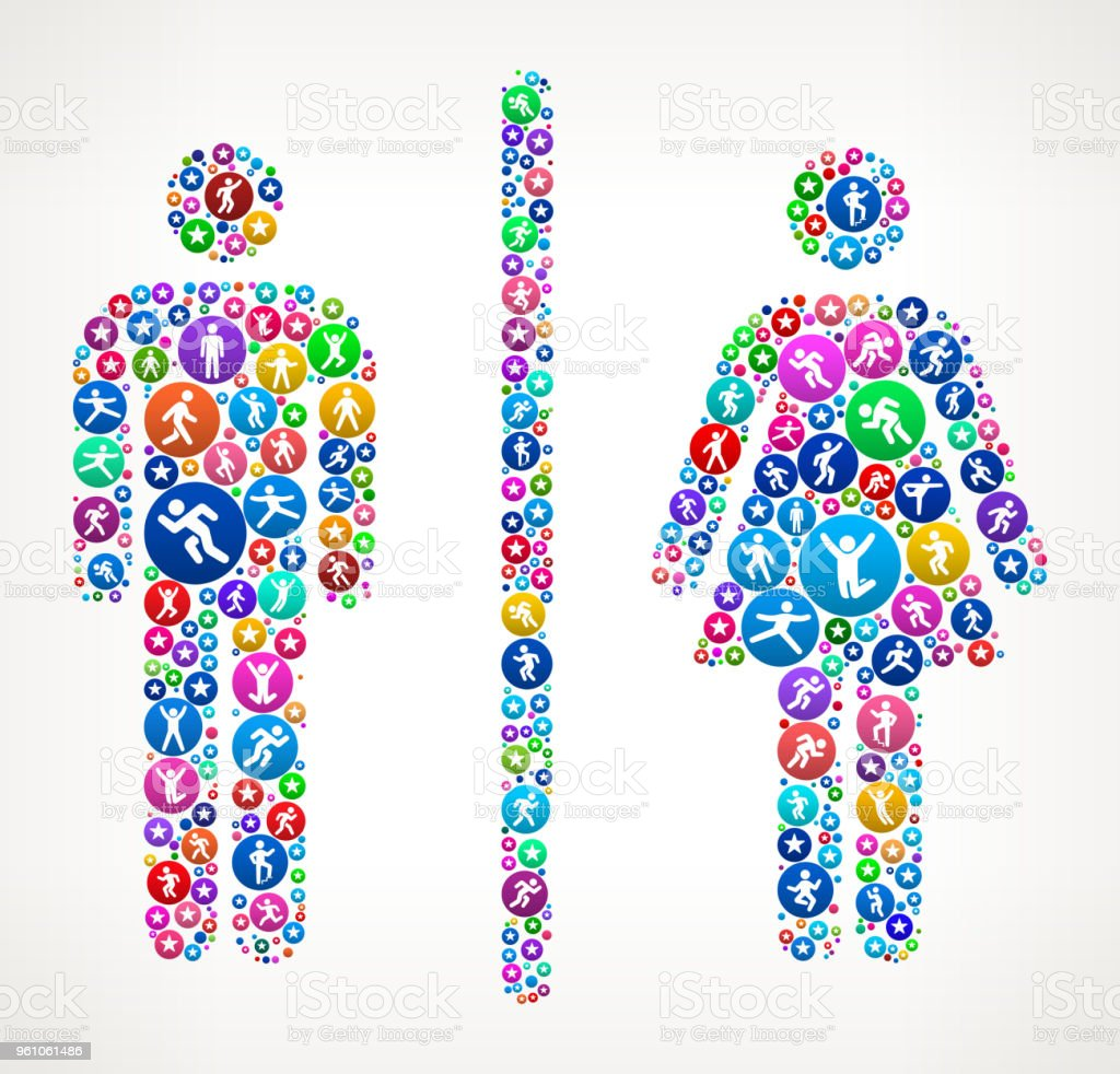 Male And Female Bathroom Sign People In Motion Fitness Icon Pattern
