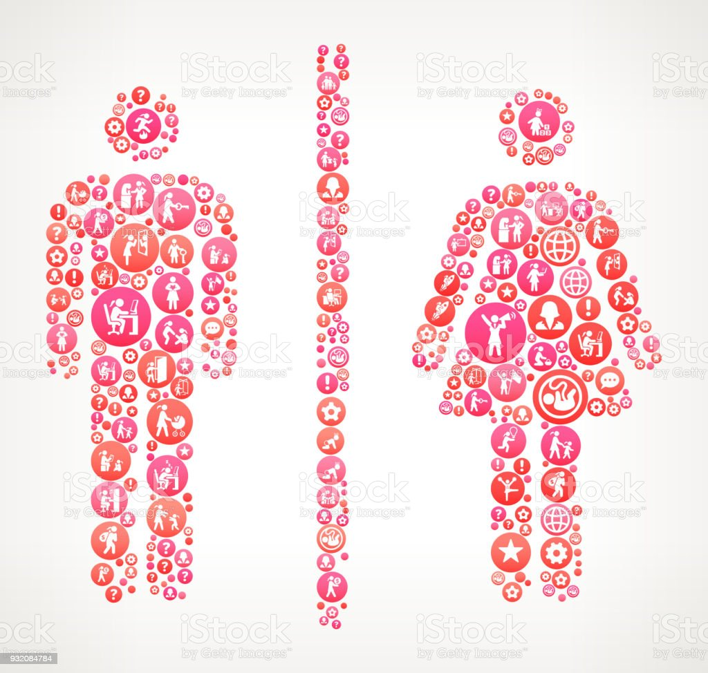 Male And Female Bathroom Sign Women Girl Power Icons Vector Background Royalty Free