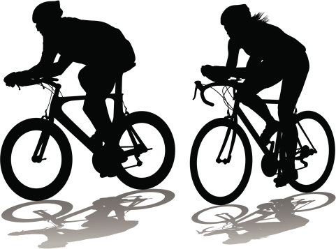 Male and female bicycle time trialists