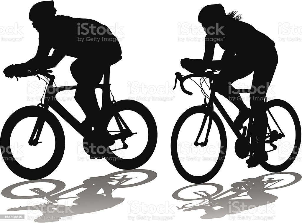 Male and female bicycle time trialists vector art illustration