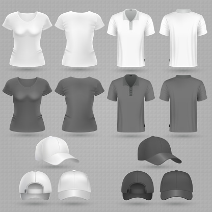 Male and female black white t-shirt and baseball cap vector 3d mockup isolated