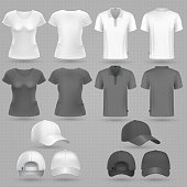 Male and famale black white t-shirt and baseball cap vector 3d mockup isolated. T-shirt mockup and sportswear baseball cap illustration