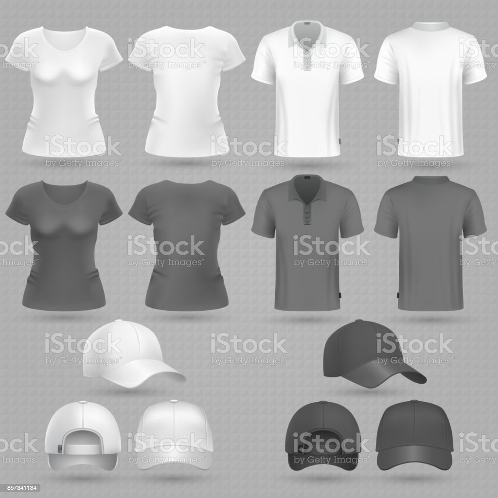 Male and female black white t-shirt and baseball cap vector 3d mockup isolated vector art illustration