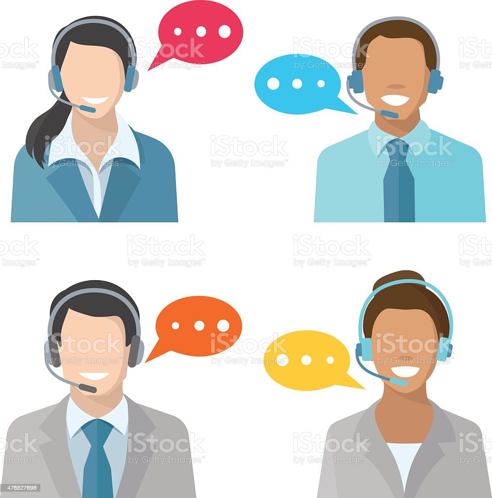 Male and female call center avatar icons vector art illustration